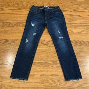 Hi Rise Button Fly Crop Distressed Skinny Jeans